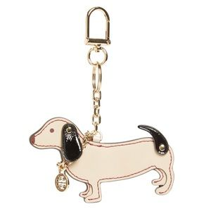 TORY BURCH Dachshund Dog Key Fob Keychain